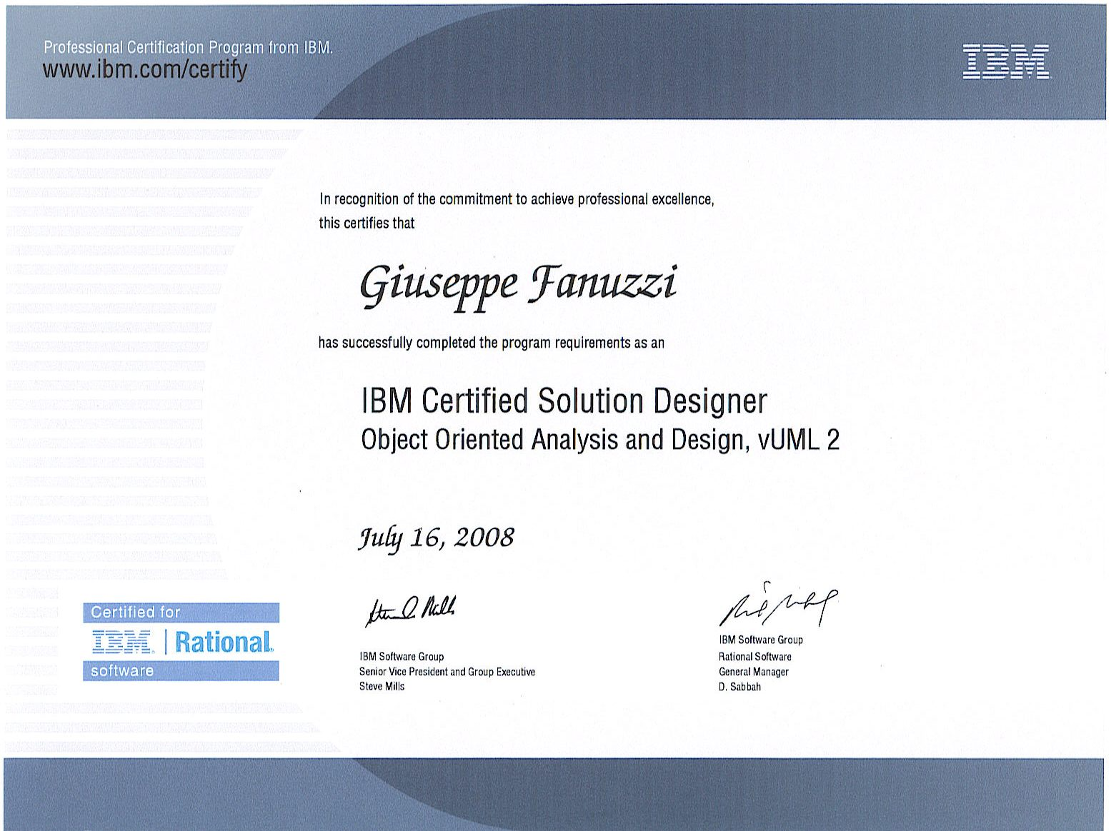 Ibm Certified Solution Designer Giuseppe Fanuzzi F Consulting